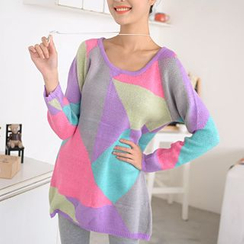 59 Seconds - Color-Block Long Sweater