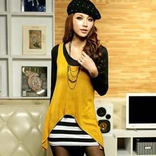JK2 - Inset Sleeveless Knit Top Striped Tunic