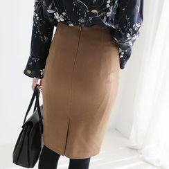 CLICK - Zip-Back Pencil Skirt