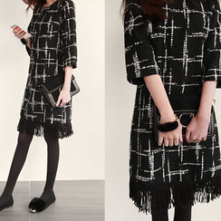 NIPONJJUYA - Elbow-Sleeve Fringe-Hem Tweed Shift Dress