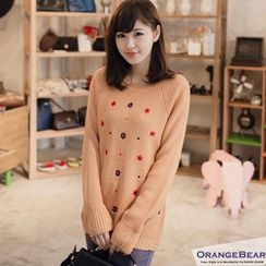 OrangeBear - Long-Sleeve Flower-Embroidered Sweater