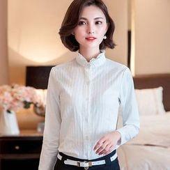 Eferu - 通花蕾丝边立领长袖衬衫