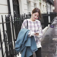 mimi&didi - Slit-Hem Plaid Sweatshirt