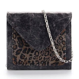 Ethel - Leopard Print-Panel Flap Cross Bag