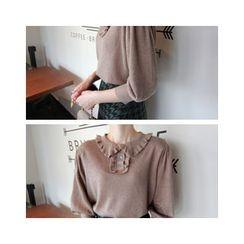 LEELIN - Frilled-Collar 3/4-Sleeve Knit Top