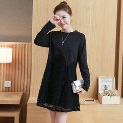 VIZZI - Lace Panel Long Sleeve Dress