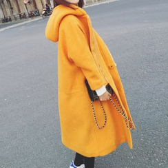 Melon Juice - Plain Hooded Long Woolen Coat