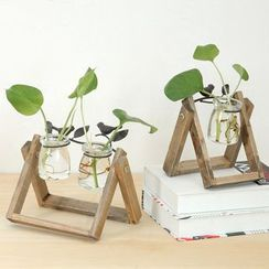 Foresty - Glass Pot with Wooden Stand Home Decoration