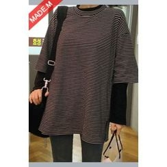 MICHYEORA - Elbow-Sleeve Striped T-Shirt