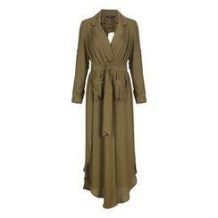 Obel - Notch Lapel Maxi Chiffon Dress