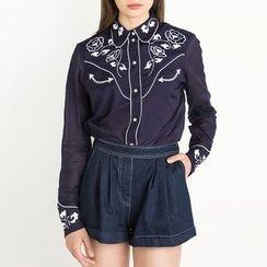 Obel - Flower Embroidered Shirt