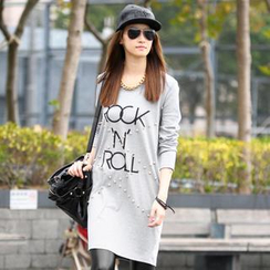 59 Seconds - Lettering Studded Long T-Shirt Dress