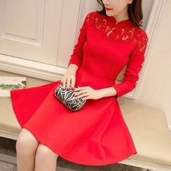 Cobogarden - Stand-collar Lace Panel Long-Sleeve Dress