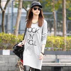 SO Central - Lettering Studded Long T-Shirt Dress