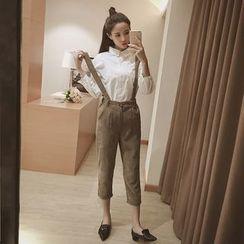Phyllis - Set : Long-Sleeve Blouse + Corduroy Suspender Pants