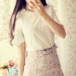Cobblestone - Ruffled Lace Short-Sleeve Top
