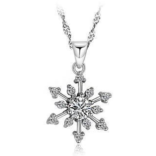 BELEC - White Gold Plated 925 Sterling Silver Snowflake Pendant with White Cubic Zirconia and 45cm Necklace