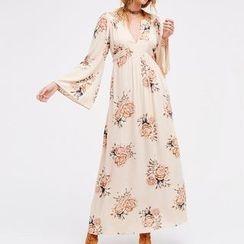 Obel - Floral Print Long Sleeve Maxi Dress