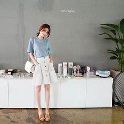 mimi&didi - Buttoned Stripe A-Line Skirt
