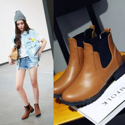 Shoes Galore - Block Heel Chelsea Ankle Boots