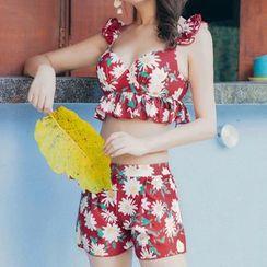 Little Dolphin - Set : Floral Print Bikini + Swim Shorts