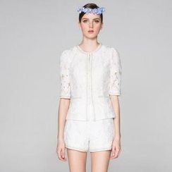 O.SA - Set: Beaded-Trim Lace Jacket + Shorts