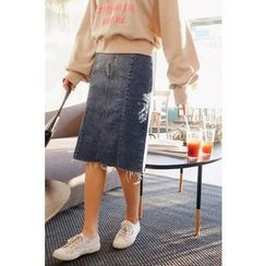 CHERRYKOKO - Fray-Hem Washed Denim Skirt