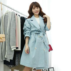 Dodostyle - Capelet Double-Breasted Trench Coat
