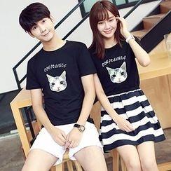 Azure - Couple Matching Cat Print Short Sleeve T-Shirt / Striped Panel Short Sleeve Dress