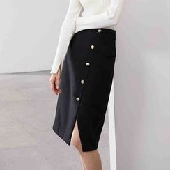 DIALOG - Side-Button Pencil Skirt