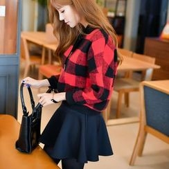 Angel Shine - Set: Plaid Cropped Pullover + A-Line Mini Skirt