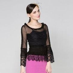 O.SA - Lace-Panel Sheer Top