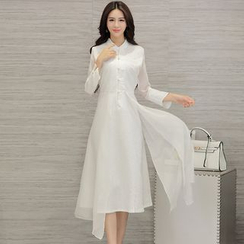 Diosa - Mandarin Collar 3/4 Sleeve Midi Dress