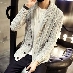 DUKESEDAN - Shawl Collar Cable-Knit Cardigan