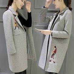 Angel Shine - Embroidered Notch Lapel Long Woolen Coat