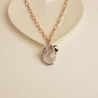 Love Generation - Cat's Eye Stone & Rhinestone Elephant Necklace