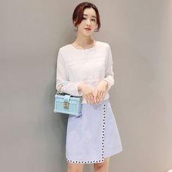 Mandalle - Set: Crochet Trim Long Sleeve Top + Wrap A-Line Skirt
