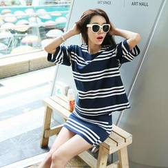 Cherryville - Set: Drop-Shoulder Stripe T-Shirt + Stripe Mini Skirt