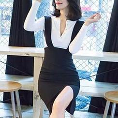 Dimanche - Set: Long-Sleeve V-Neck Knit Top + Jumper Slit Skirt