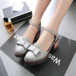 佳美 - 蝴蝶结仿皮粗跟高跟鞋