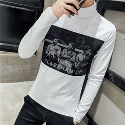 JORZ - Printed Mock Neck Long-Sleeve T-Shirt