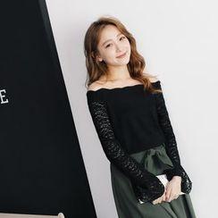东京著衣 - 长袖蕾丝上衣