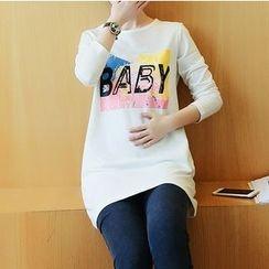 Kasan - Maternity Set: Long-Sleeve Print T-Shirt + Skinny Pants