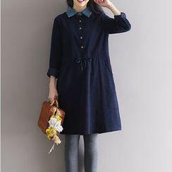 Clover Dream - Collared Drawstring Waist Corduroy Dress