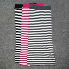 Doll House - Slit Striped Maxi Skirt