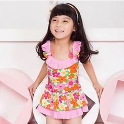 Charmaine - Kids Frill Trim Floral Print Swim Dress