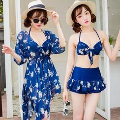 Sweet Splash - 套裝: 碎花比基尼上衣 + 泳裝短裙 + 泳裝外罩