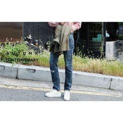SCOU - Distressed Straight-Cut Jeans