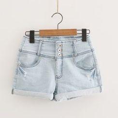 Piko - Cuff-hem Denim Shorts