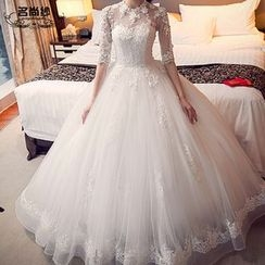 MSSBridal - Flower Accent Elbow Sleeve Wedding Ball Gown
